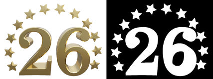 Gold number twenty six, decorated with a circle of stars. 3D illustration.  Royalty Free Stock Images