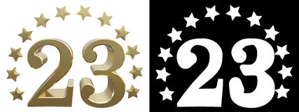 Gold number twenty three, decorated with a circle of stars. 3D illustration.  Royalty Free Stock Photos