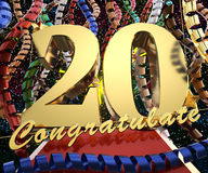 Gold number twenty with the words congratulations on a background of colorful ribbons and salute. 3D illustration.  Royalty Free Stock Images