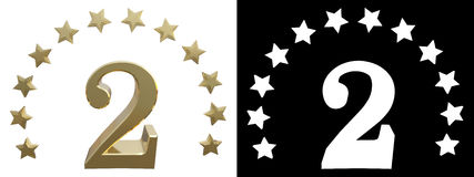 Gold number two, decorated with a circle of stars. 3D illustration.  Royalty Free Stock Photos