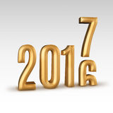 2016 gold number year change to 2017 new year in white studio ro Royalty Free Stock Photo