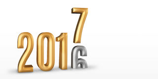 2016 gold number year change to 2017 new year in white studio ro. Om, New year concept,3D rendering, Leave space for display your content Stock Photography