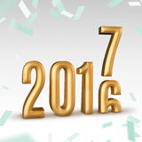2016 gold number year change to 2017 new year in white studio ro. Om with confetti, New year concept,3D rendering royalty free illustration