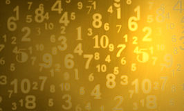 Gold Numbers. A digital image of gold numbers on a gold background stock illustration