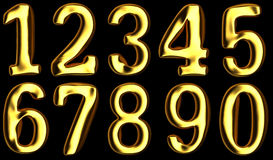 Gold numbers on black background. Added clipping path Royalty Free Stock Image