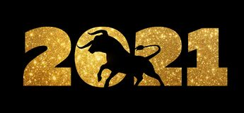 Gold numbers 2021.Bull silhouette black. Chinese new year 2021 year of the ox
