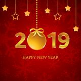 2019 gold numbers with christmas ball with ribbon, bow, hanging stars on the red background with snowflakes and falling snow. stock illustration