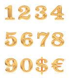 Gold numbers and currency signs Royalty Free Stock Image