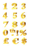 Gold Numbers And Currency Symbols. 3d set of gold numerals, percentage and currency symbols for pound, dollar and euro isolated on white Royalty Free Stock Photos