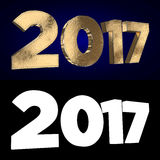 Gold numbers 2017 on a dark blue background. Gold numbers two thousand and seventeen on a dark blue background. 3D illustration. Alpha channel Royalty Free Stock Image