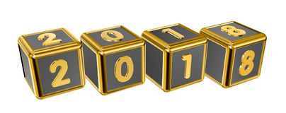 Gold numbers 2018 on gold squares Royalty Free Stock Images