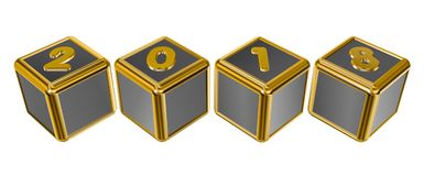 Gold numbers 2018 on gold squares Stock Images