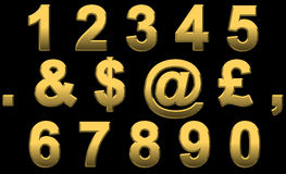 Gold Numbers & Punctuation. Gold Numbers and Punctuation Marks On Black Stock Photos