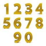 Gold numbers set. From 0 to 9 isolated on white background, three-dimensional rendering, 3D illustration Stock Photography