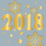 2018.  Numbers and snowflake cut from paper for holiday greeting card, invitation, calendar poster, banner. Vector Illustration. Gold numbers 2018 and Royalty Free Stock Image