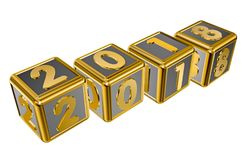 Gold numbers 2018 on gold squares Stock Photo