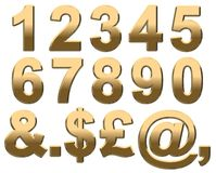 Gold Numbers On White. 3D Render Royalty Free Stock Photography