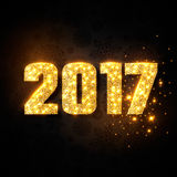 Gold numeric 2017. Christmas, new year concept. With glowing lights, black background. Vector illustration royalty free illustration