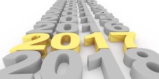 Gold nummeriert 2017 neues Jahr auf einem weißen Hintergrund 3d übertragen vektor abbildung