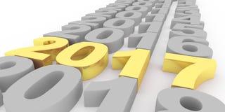 Gold nummeriert 2017 neues Jahr auf einer weißen Illustration des Hintergrundes 3d vektor abbildung