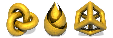 Gold Object Sculptures Stock Photo