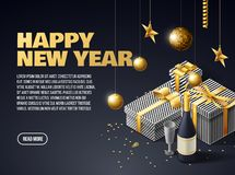 Happy new year 2019 background place for text. 2019 gold objects presents place for text royalty free illustration