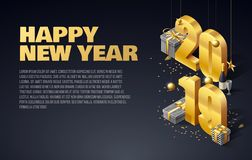 Happy new year 2019 background place for text. 2019 gold objects presents place for text vector illustration
