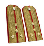 Gold officer epaulets. 2 smarts gold officer epaulets Stock Photo