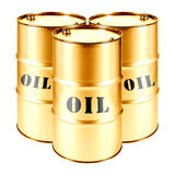Gold Oil Barrel Isolated on White Background. Black Gold Royalty Free Stock Images