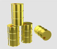 gold oil barrels Royalty Free Stock Image