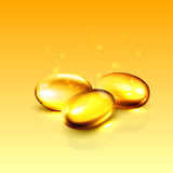 Gold oil collagen capsule pill illustration. Royalty Free Stock Photography
