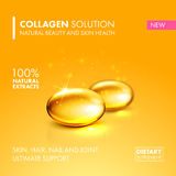 Gold oil collagen capsule pill illustration. Royalty Free Stock Image