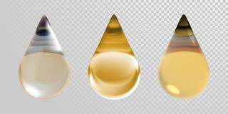 Gold oil drops  on transparent background. Vector 3d realistic clean oil essence droplets for cosmetic. Design Royalty Free Stock Images