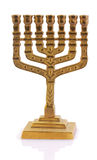 Gold oil lamp. The Judaic religious oil lamp from gold is on a white background Stock Photography