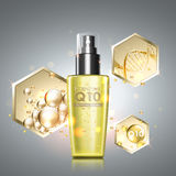 Gold oil serum skincare treatment. Honeycomb elements with precious oil, coenzyme Q10 and DNA helix across cosmetic bottle. Anti-aging treatment solution on Royalty Free Stock Photo