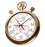 Gold old clock on white. With patch Royalty Free Stock Image