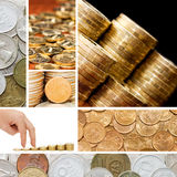 Gold and old coins. A collage Royalty Free Stock Photos