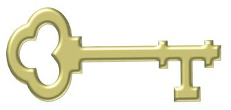 Gold Old-fashioned Skeleton Key Royalty Free Stock Photo