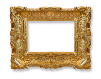 Gold  old frame. Gold frame. Gold gilded arts and crafts pattern picture frame Stock Image
