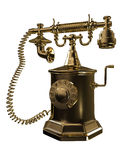 Gold old phone Royalty Free Stock Images