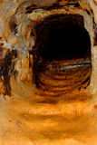 Gold - old roman tunnel in gold mine Rosia Montana, Transylvania Royalty Free Stock Image
