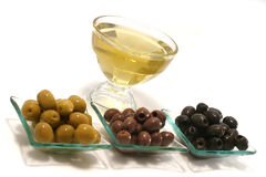 Gold olive oil with  olives Royalty Free Stock Image