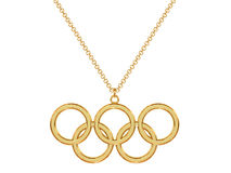 Gold olympic rings pendant on chain. Gold pendant in shape of olympic rings on chain isolated on white. High resolution 3D image Stock Photography