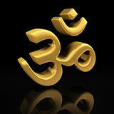 Gold Om on black Stock Image