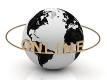 Gold Online of the inscription around the earth Royalty Free Stock Image