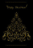 Gold openwork  Christmas Tree with crosses Royalty Free Stock Photography