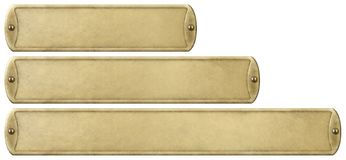Free Gold Or Brass Old Metal Plates Set Isolated With Clipping Path Included Stock Image - 160612951