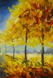 Gold orange autumn park forest trees Royalty Free Illustration