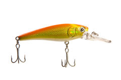 Gold and Orange Fishing Plug Lure Isolated Stock Photo