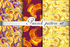 Gold orange peacock feathers abstract seamless patterns set, vector illustration Royalty Free Stock Image